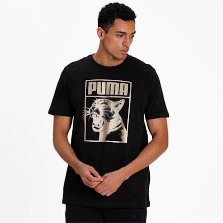 Graphic T-Shirt Box Logo, Puma Black, small-IND