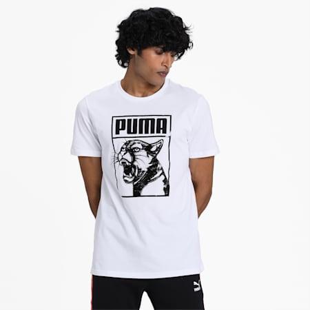 Graphic T-Shirt Box Logo, Puma White-puma black, small-IND