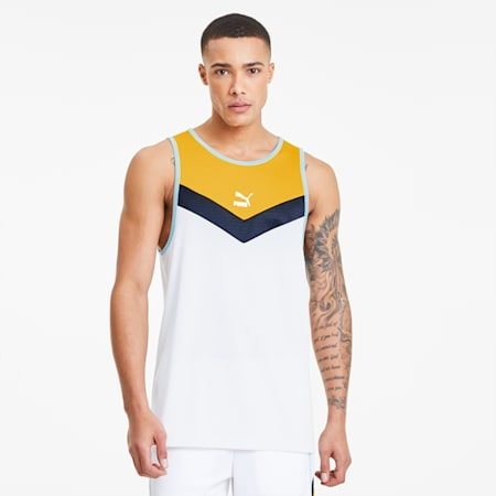 Iconic MCS Men's Tank, Puma White-Golden Rod, small