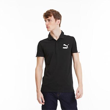 Camiseta tipo polo icónica de corte ceñidoT7 para hombre, Puma Black, pequeño