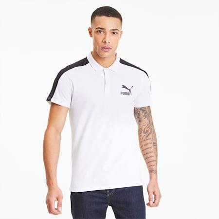 Camiseta tipo polo icónica de corte ceñidoT7 para hombre, Puma White, pequeño