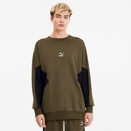 Tailored for Sport Men's Crewneck Sweatshirt, Dark Olive, small