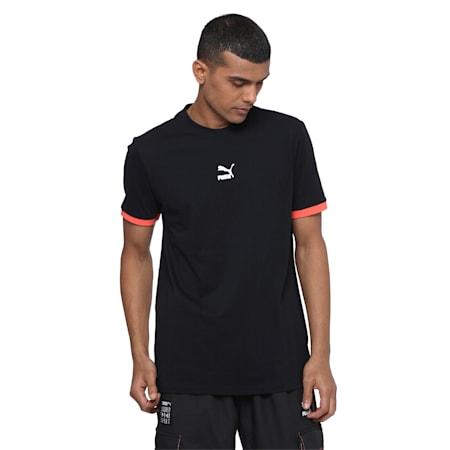 PUMA TFS T-Shirt, Puma Black-Hot Coral, small-IND