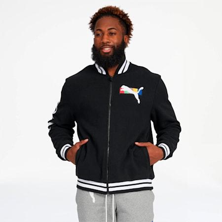 PUMA x FASHION GEEK Men's Varsity Jacket, Cotton Black, small