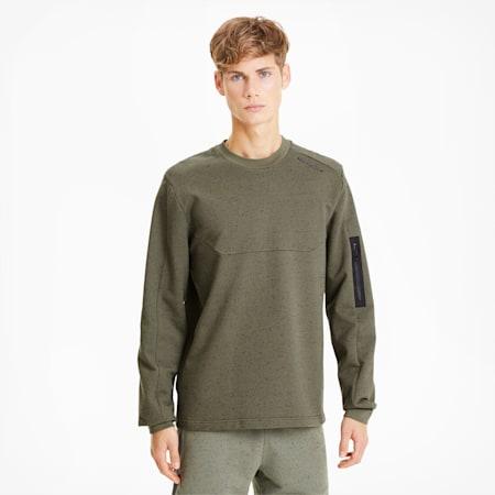 Porsche Design Raglan Long Sleeve Men's Racing Sweater, Deep Lichen Green Heather, small