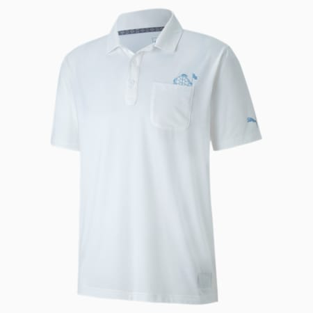 Slow Play Pocket Men's Golf Polo Shirt, Bright White, small-SEA