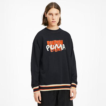 PUMA x RANDOMEVENT ユニセックス グラフィック クルースウェット, Puma Black, small-JPN