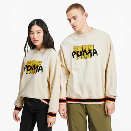 PUMA x RANDOMEVENT Graphic Long Sleeve Crewneck Tee, White Asparagus, small