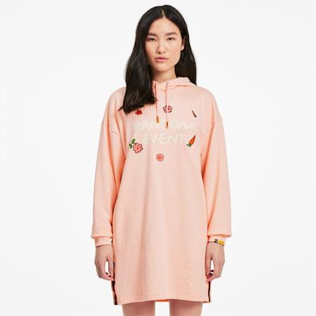 Vestido con capucha PUMA x RANDOMEVENT para mujer, Gossamer Pink, pequeño