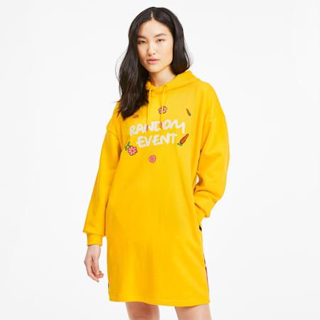 PUMA x RANDOMEVENT Women's Hooded Dress, Lemon Chrome, small