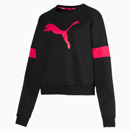 Logo Pack Graphic Long Sleeve Women's Sweater, Cotton Black, small-IND