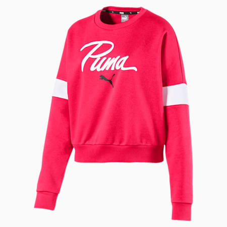 Logo Pack Graphic Long Sleeve Women's Sweater, Nrgy Rose, small-IND