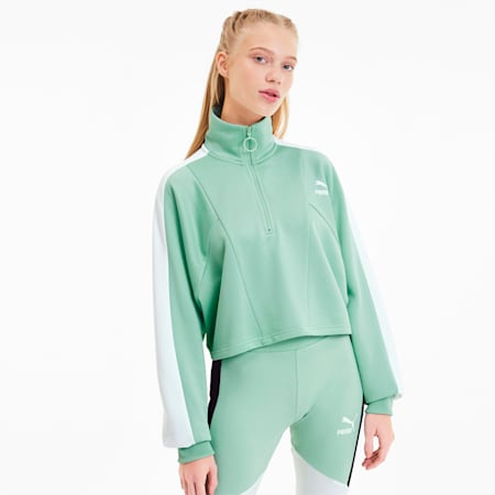 Design pour blouson court à demi-glissière sport, femme, Vert brume, petit