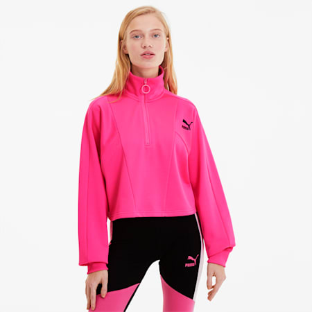 Tailored For Sport Women's Cropped Half Zip Jacket, Fluo Pink, small