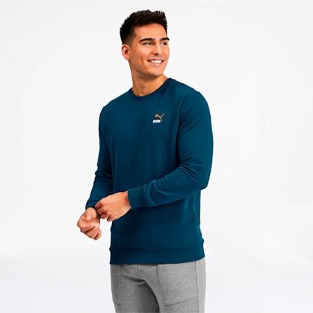 Classics Men's Embroidered Crewneck Sweatshirt, Gibraltar Sea, small