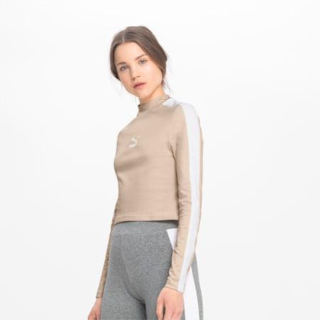 Classics Long Sleeve Cropped Women's Top, Tapioca, small