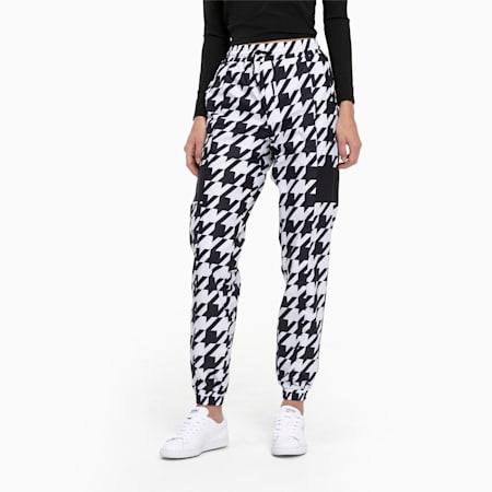 Trend Woven Women's Sweatpants, Puma Black-Houndstooth AOP, small
