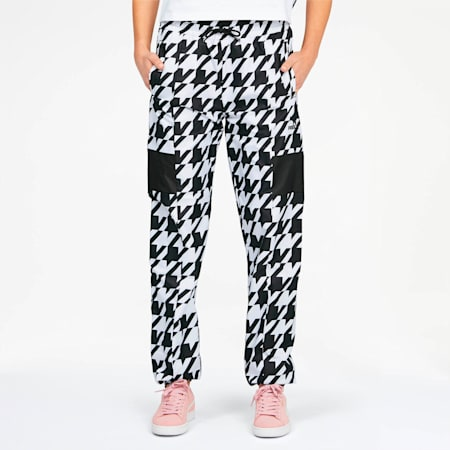 Trend Women's Track Pants, Puma Black-Houndstooth AOP, small