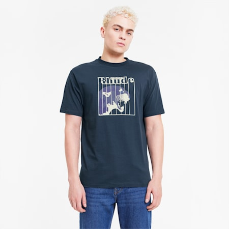PUMA x RHUDE Men's Graphic Tee, Blue Wing Teal, small