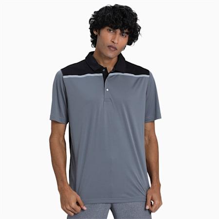 Bonded Colourblock Men's Golf Polo Shirt, QUIET SHADE-Puma Black, small-IND