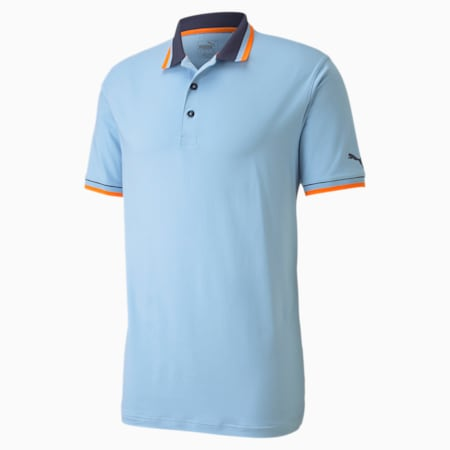 X Tipped Men's Golf Polo Shirt, Blue Bell, small-SEA