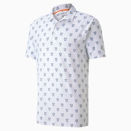 X Skull Men's Golf Polo Shirt, Bright White, small-SEA