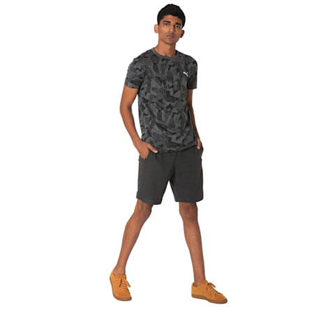 Men's Zipped Jersey Shorts, Dark Gray Heather, small-IND