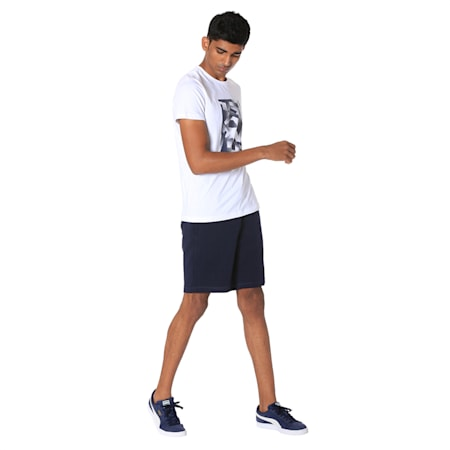Men's Zipped Jersey Shorts, Peacoat, small-IND