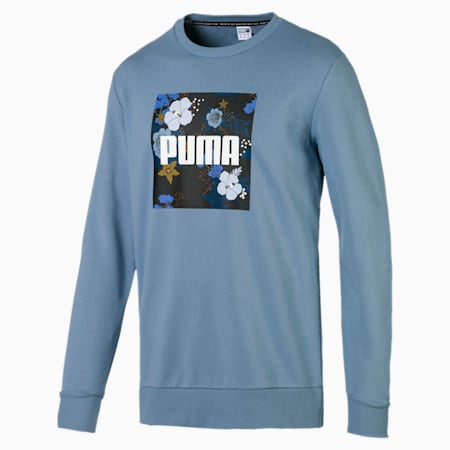 Trend Graphic Long Sleeve Men's Sweater, Faded Denim, small-IND