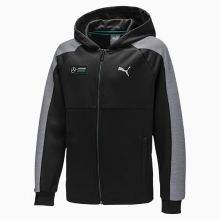 Mercedes AMG Petronas Hooded Kids' Sweat Jacket, Puma Black, small