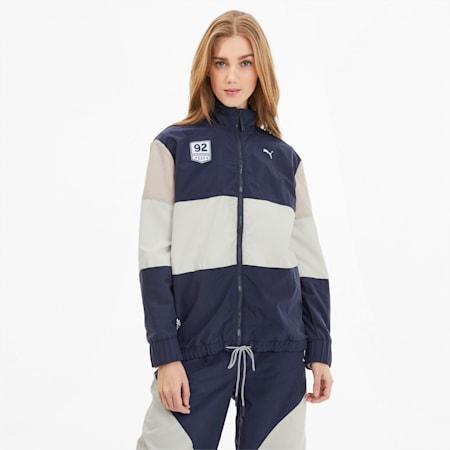 PUMA x SELENA GOMEZ Women's Track Jacket, Peacoat-Whisper Wht-Pink, small