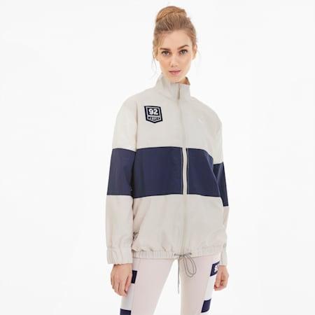 PUMA x SELENA GOMEZ Women's Track Jacket, Silver Gray-Peacoat-Pink, small