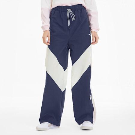 Pantalones deportivos SG x PUMA para mujer, Peacoat-Whisper White-Rosa, pequeño