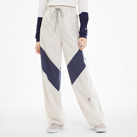 SG x PUMA Women's Track Pants, Silver Gray-Peacoat-Pink, small