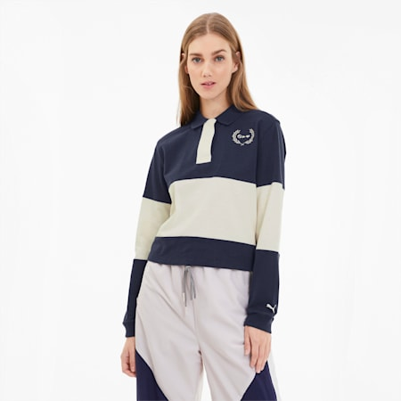 PUMA x SELENA GOMEZ Long Sleeve Rugby Women's Polo Shirt, Peacoat-Whisper White, small