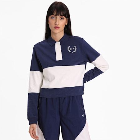 PUMA x SELENA GOMEZ Long Sleeve Rugby Women's Polo Shirt, Peacoat-Whisper White, small-IND