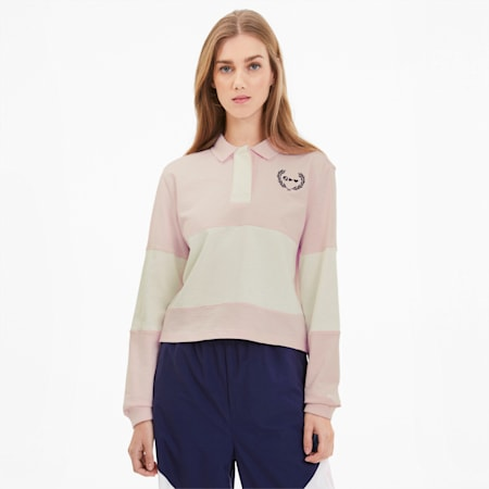 PUMA x SELENA GOMEZ Long Sleeve Rugby Women's Polo Shirt, Pink Dogwood-Whisper White, small