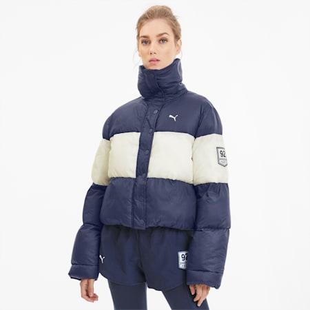 SG x PUMA Women's Cropped Puffer Jacket, Peacoat-Whisper White, small