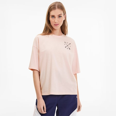 Camiseta de corte amplio para mujer PUMA x SELENA GOMEZ, Pink Dogwood, small