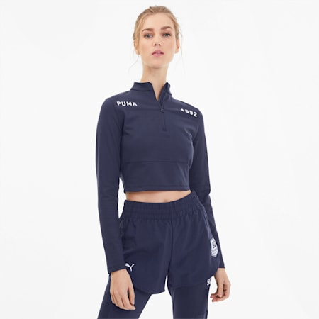 SG x PUMA Women's Cropped Half Zip Top, Peacoat, small