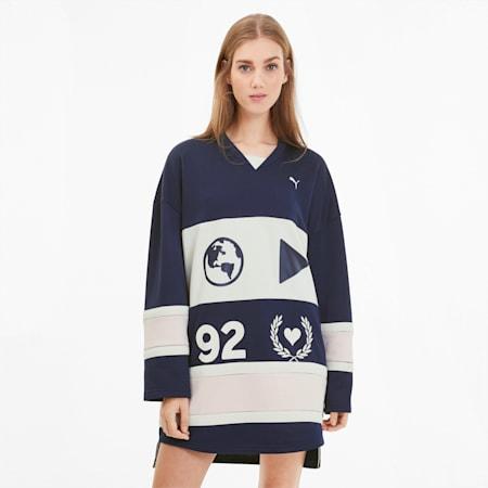 PUMA x SELENA GOMEZ Damen Langärmliges Hockey Kleid, Peacoat-Whisper White-Pink, small
