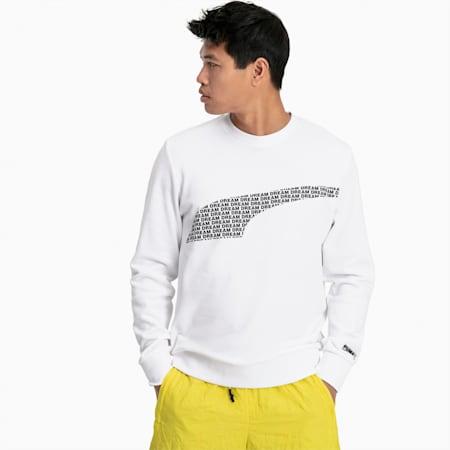 Avenir Graphic Crew Neck Sweater, Puma White, small
