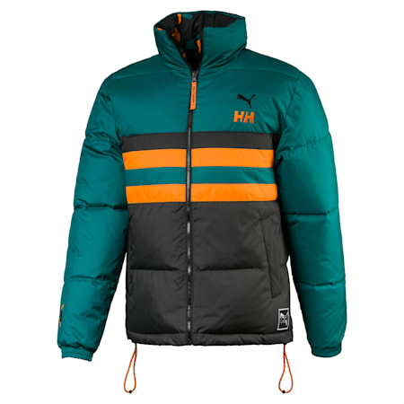 PUMA x HELLY HANSEN Fake Down Jacket, Teal Green-AOP front, small