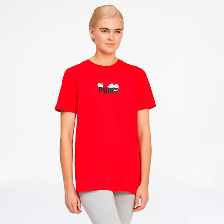 Camiseta PUMA x HELLO KITTY para mujer, Flame Scarlet, pequeño