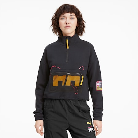 PUMA x HELLY HANSEN Women's Half Zip Sweatshirt, Puma Black, small