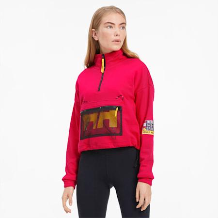 PUMA x HELLY HANSEN Women's Half Zip Sweatshirt, BRIGHT ROSE, small