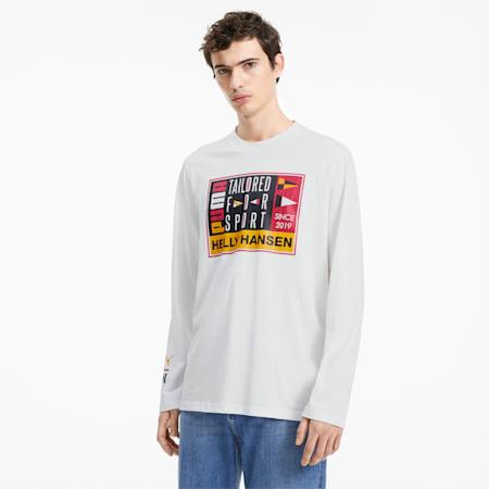 Męska koszulka PUMA x HELLY HANSEN z długim rękawem, Puma White, small