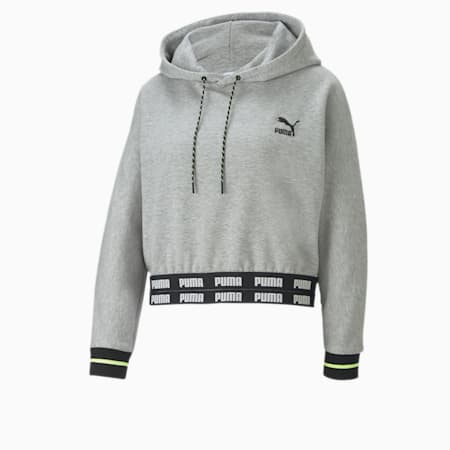 PUMA x CENTRAL SAINT MARTINS Cropped Women's Hoodie, Light Gray Heather, small