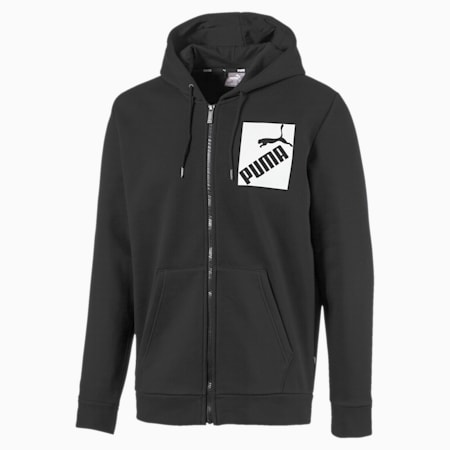 Men's Big Logo Full Zip Hoodie, Puma Black, small