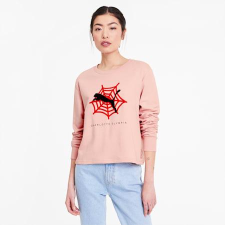 PUMA x CHARLOTTE OLYMPIA Women's Crewneck Sweatshirt, Silver Pink, small